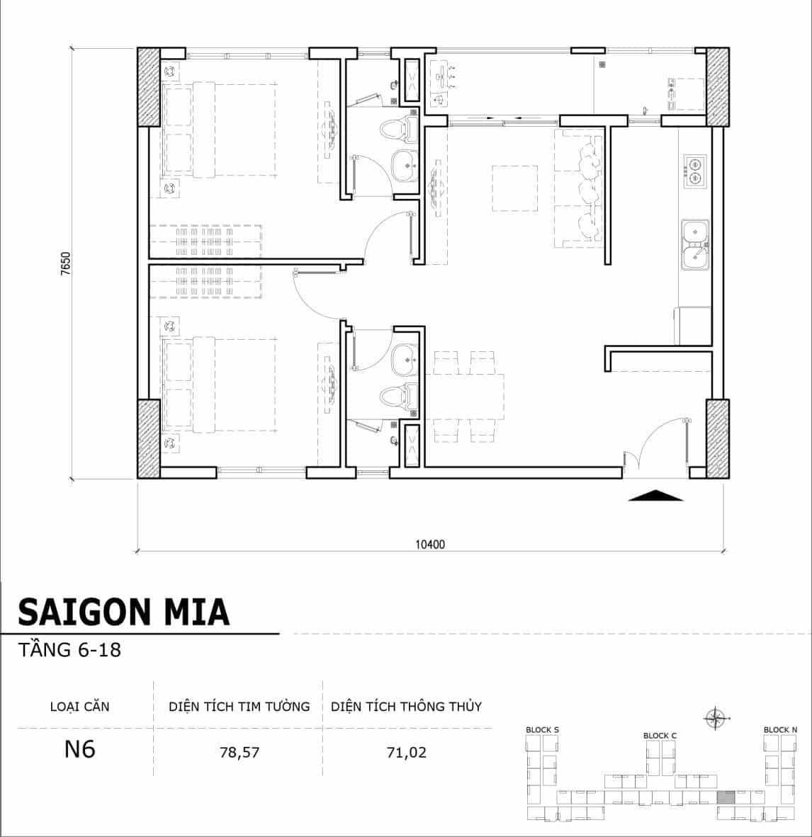 Chi tiết thiết kế căn hộ điển hình tầng 6-18 dự án Sài Gòn Mia - Căn N6