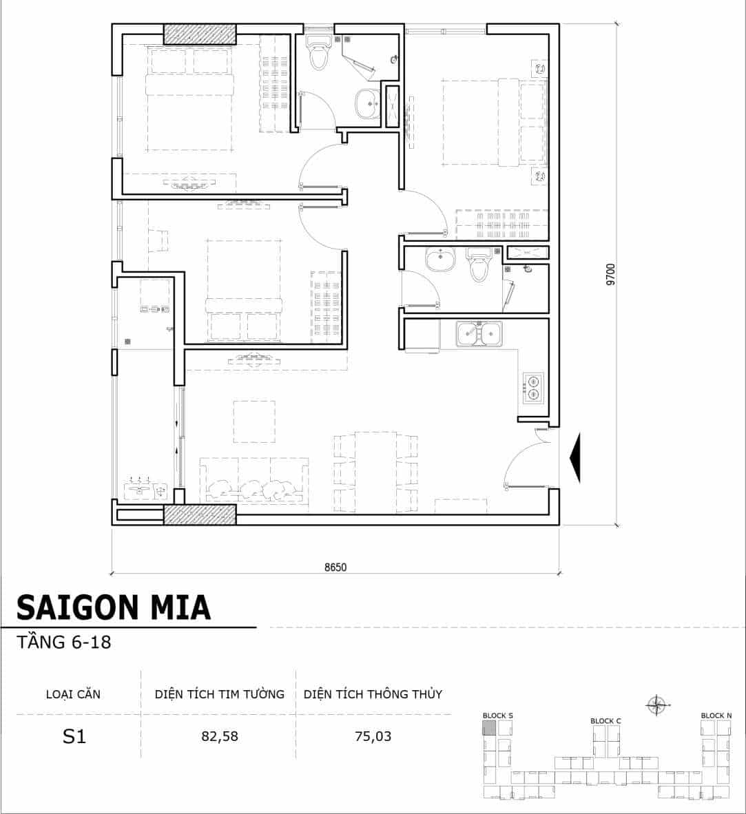 Chi tiết thiết kế căn hộ điển hình tầng 6-18 dự án Sài Gòn Mia - Căn S1