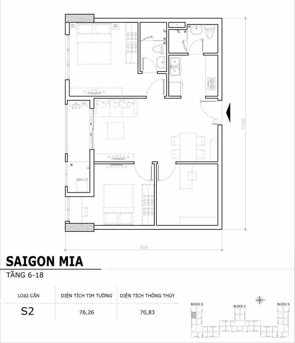 Chi tiết thiết kế căn hộ điển hình tầng 6-18 dự án Sài Gòn Mia - Căn S2