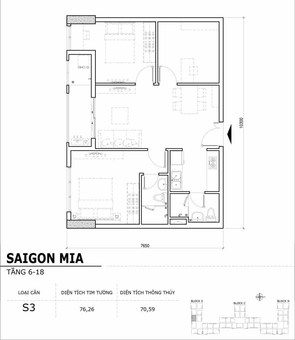 Chi tiết thiết kế căn hộ điển hình tầng 6-18 dự án Sài Gòn Mia - Căn S3