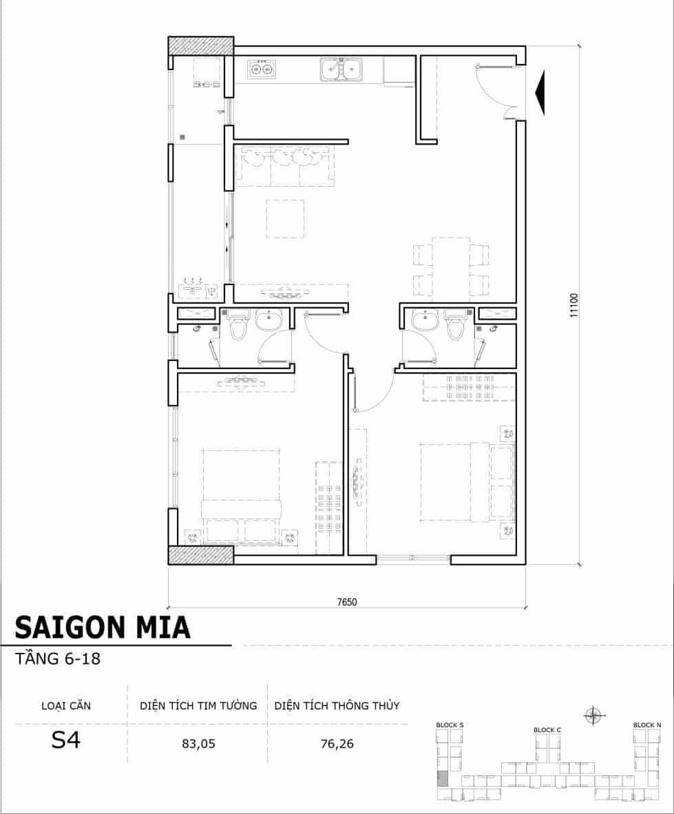 Chi tiết thiết kế căn hộ điển hình tầng 6-18 dự án Sài Gòn Mia - Căn S4