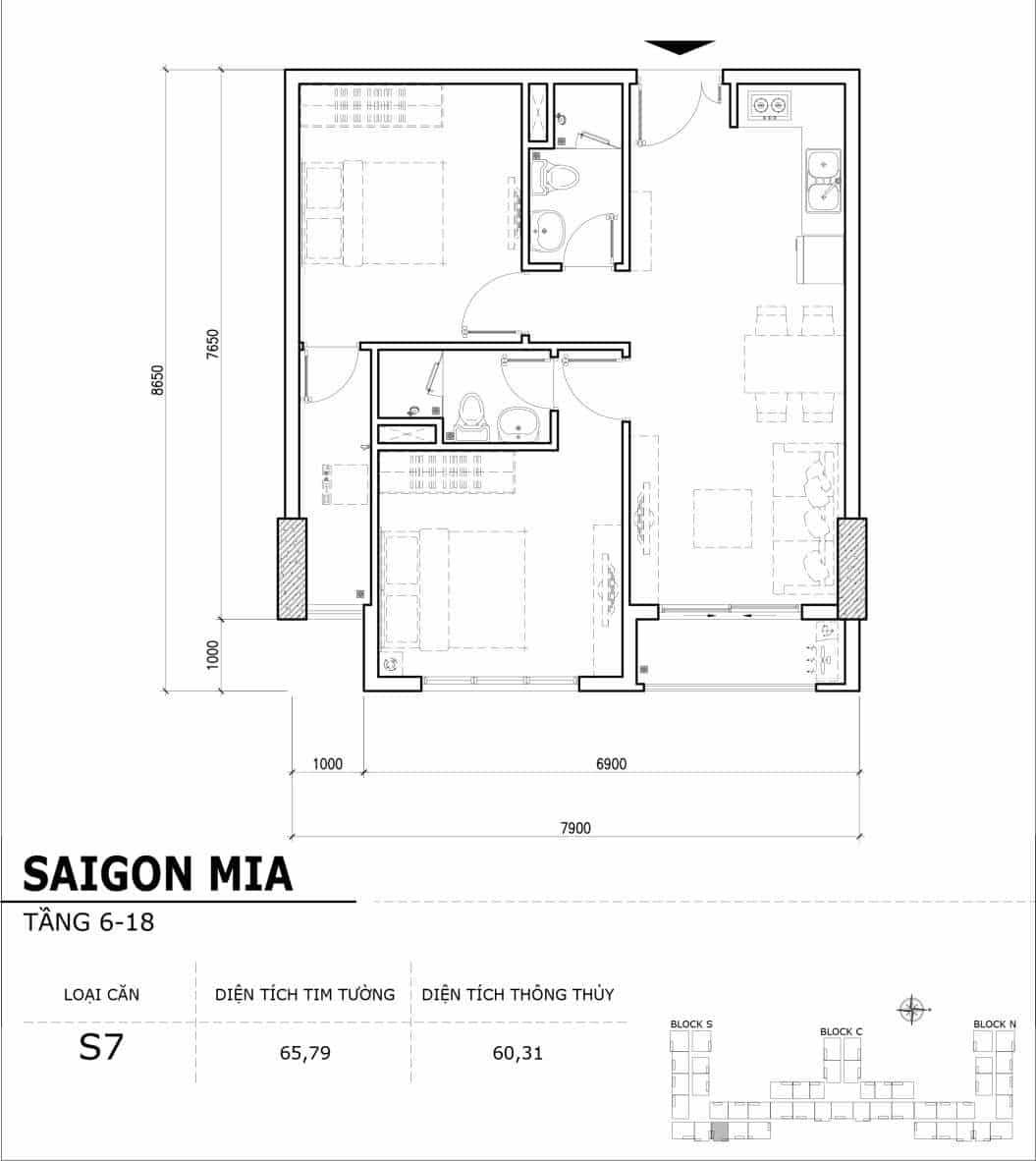 Chi tiết thiết kế căn hộ điển hình tầng 6-18 dự án Sài Gòn Mia - Căn S7