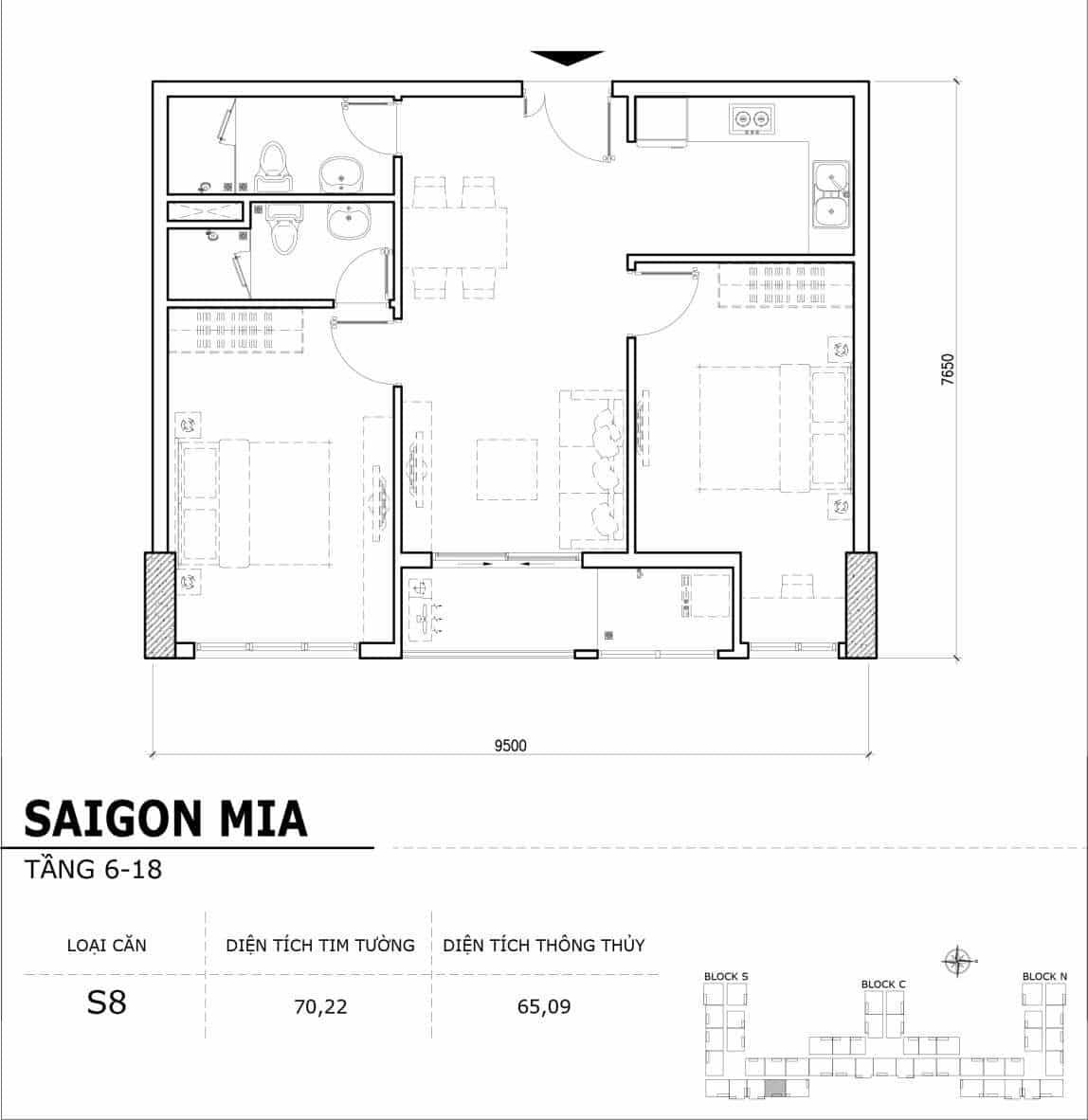 Chi tiết thiết kế căn hộ điển hình tầng 6-18 dự án Sài Gòn Mia - Căn S8
