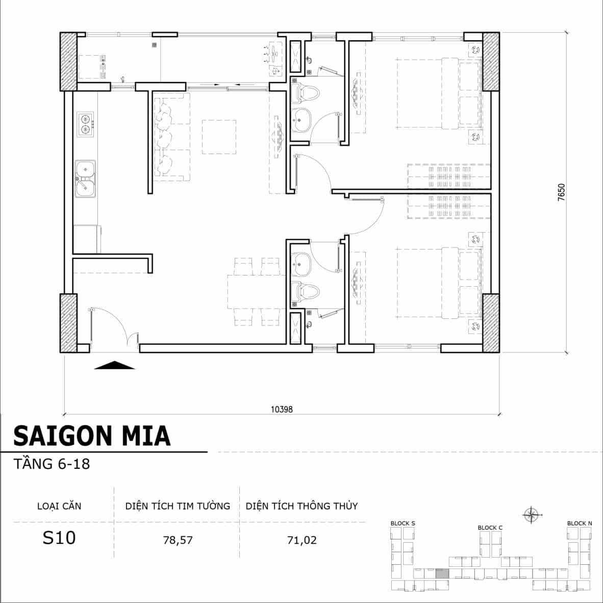 Chi tiết thiết kế căn hộ điển hình tầng 6-18 dự án Sài Gòn Mia - Căn S10