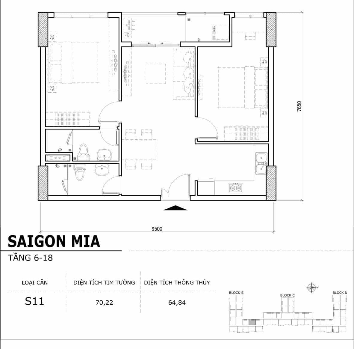 Chi tiết thiết kế căn hộ điển hình tầng 6-18 dự án Sài Gòn Mia - Căn S11
