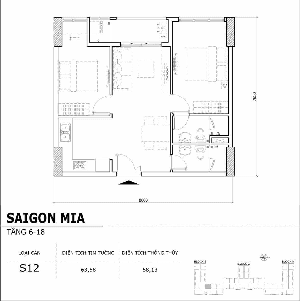 Chi tiết thiết kế căn hộ điển hình tầng 6-18 dự án Sài Gòn Mia - Căn S12