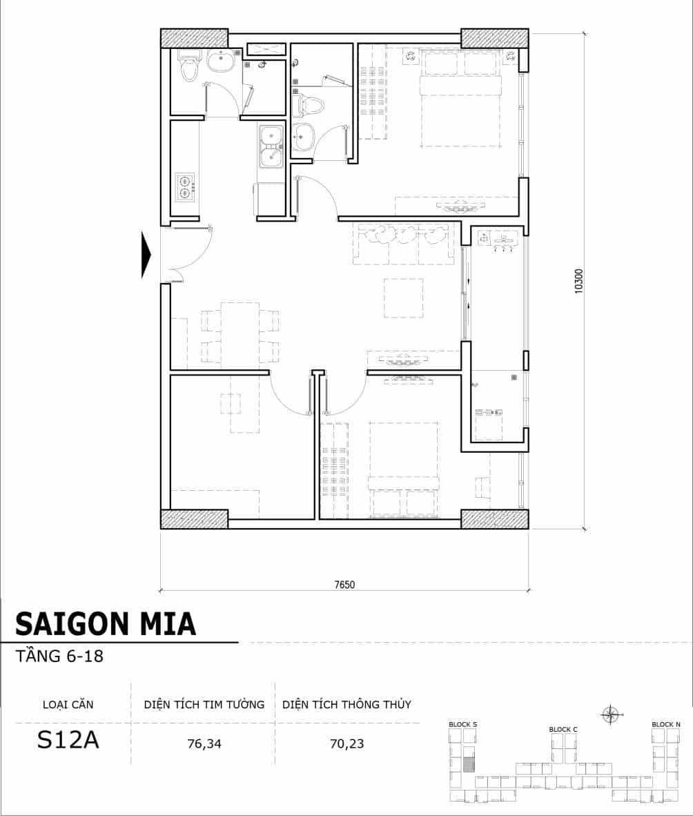 Chi tiết thiết kế căn hộ điển hình tầng 6-18 dự án Sài Gòn Mia - Căn S12A