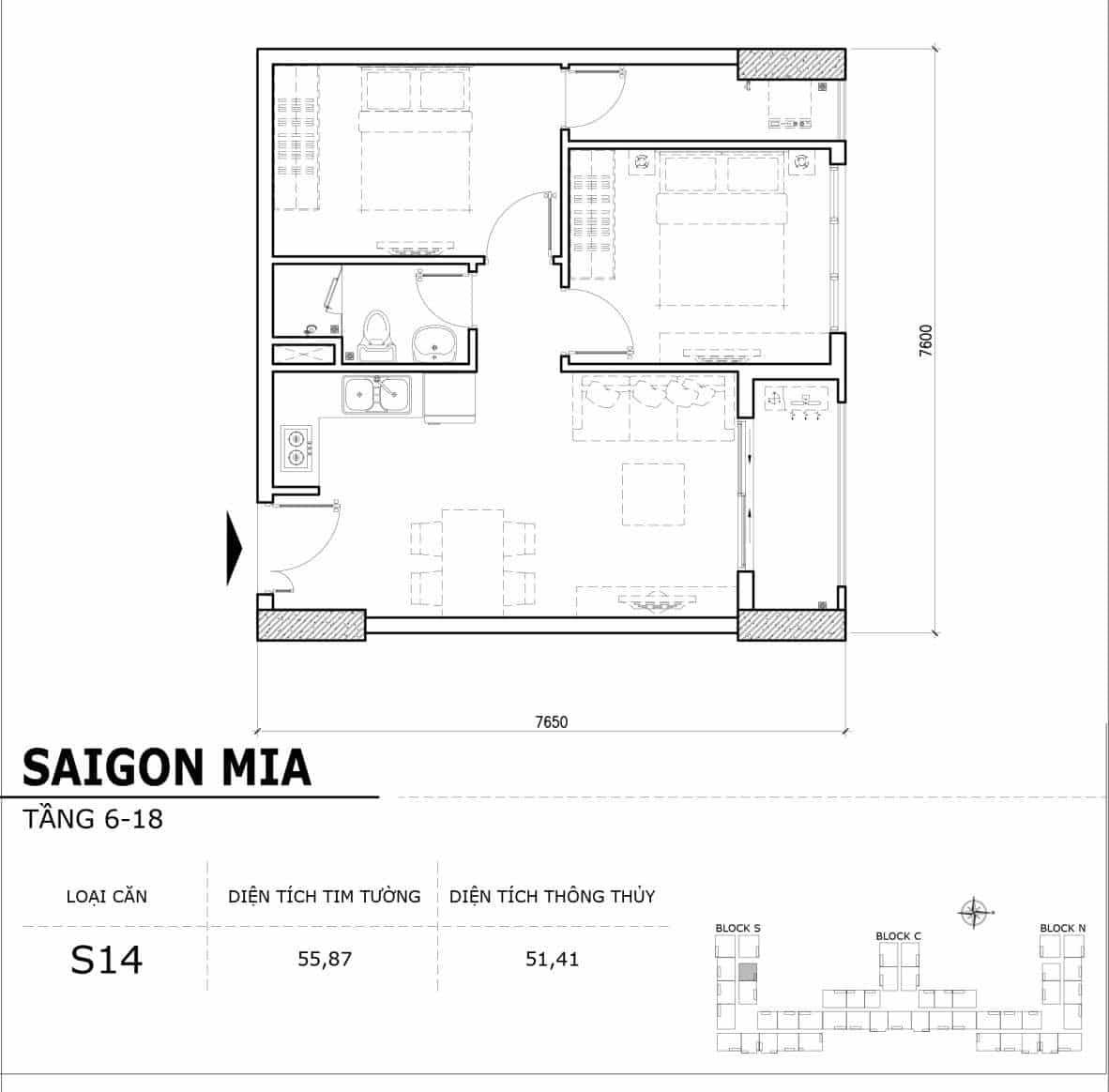 Chi tiết thiết kế căn hộ điển hình tầng 6-18 dự án Sài Gòn Mia - Căn S14
