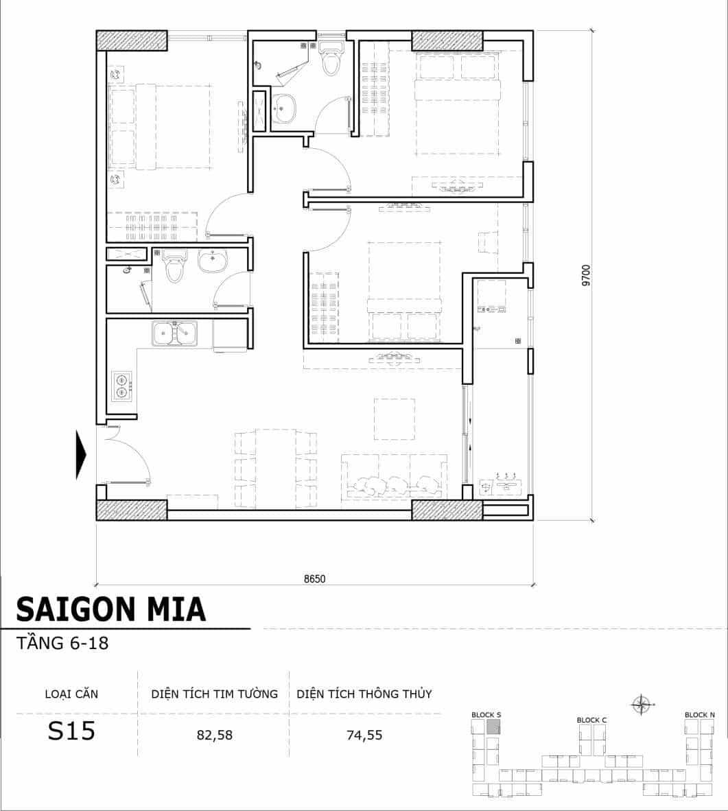 Chi tiết thiết kế căn hộ điển hình tầng 6-18 dự án Sài Gòn Mia - Căn S15