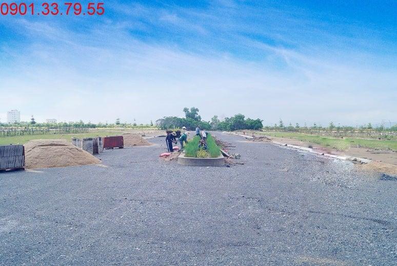Công tác trồng cây xanh trên dải phân cách đường N6 - khu D16 Dự án Golden Bay Cam Ranh