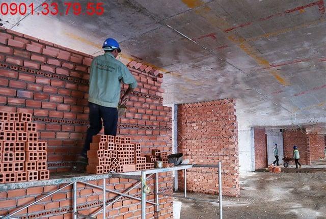 Xây tường bao căn hộ đến tầng 7 block A, B và đến tầng 16 block C, D dự án Sky Center