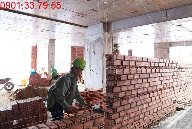 Xây tường bao căn hộ đến tầng 7 block A, B và đến tầng 16 block C, D dự án căn hộ Skycenter
