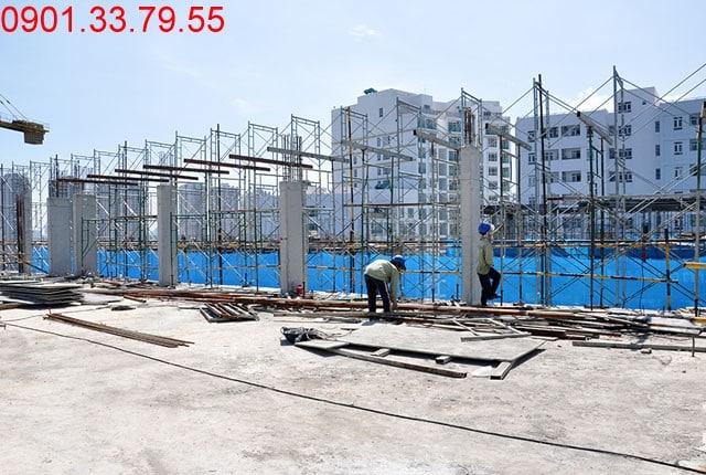 Thi công dàn mái hố PIT thang máy - Block B chung cư Florita Hưng Thịnh