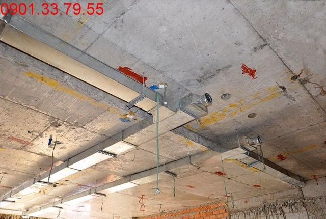 Hình ảnh thi công Đã hoàn thành đường ống thông gió tầng 7 block A, B, C, D căn hộ Sky Center Phổ Quang
