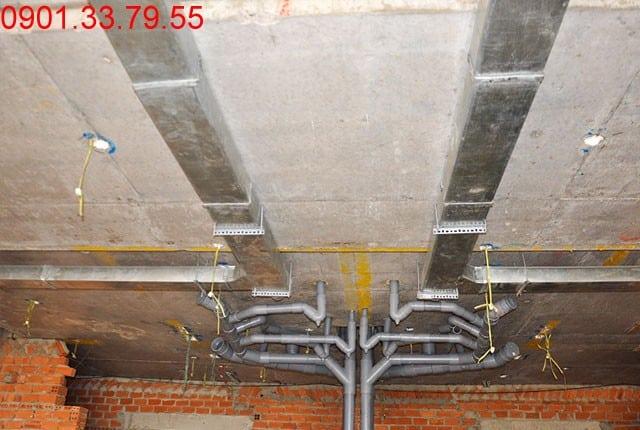 Hình ảnh thi công Đã hoàn thành đường ống thông gió tầng 7 block A, B, C, D căn hộ Sky Center Tân Bình
