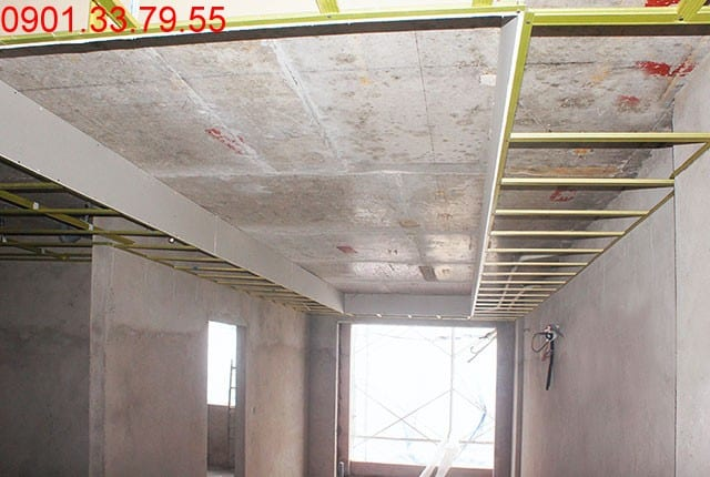 Đóng khung trần thạch cao tầng 14 - block B dự án Melody Residences