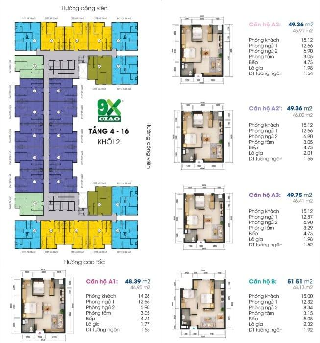 Mặt bằng chi tiết căn hộ dự án 9X Ciao