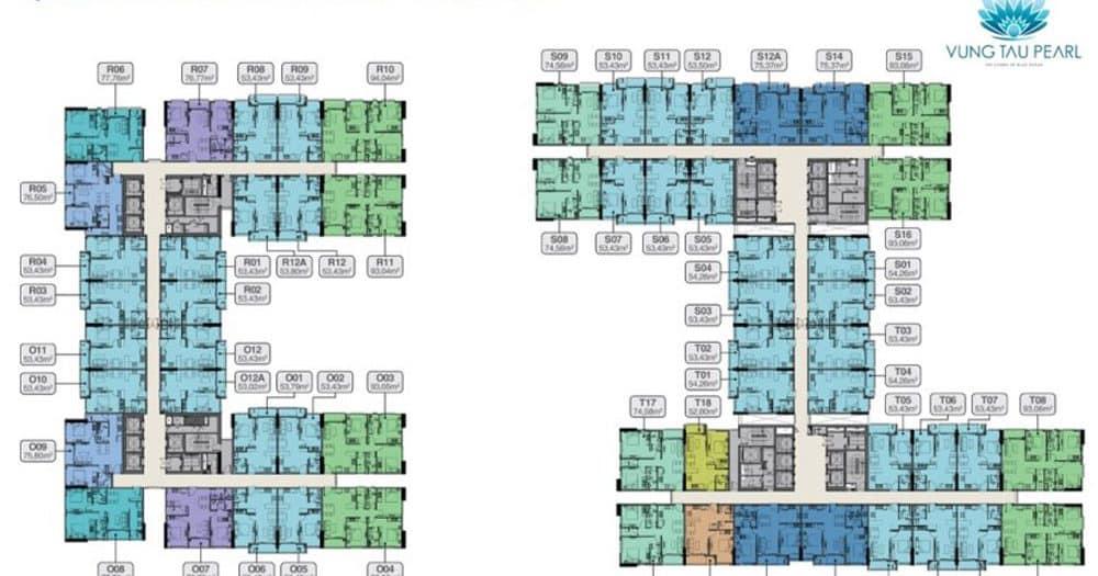 Mặt bằng thiết kế tầng điển hình 4-18 và 20-32