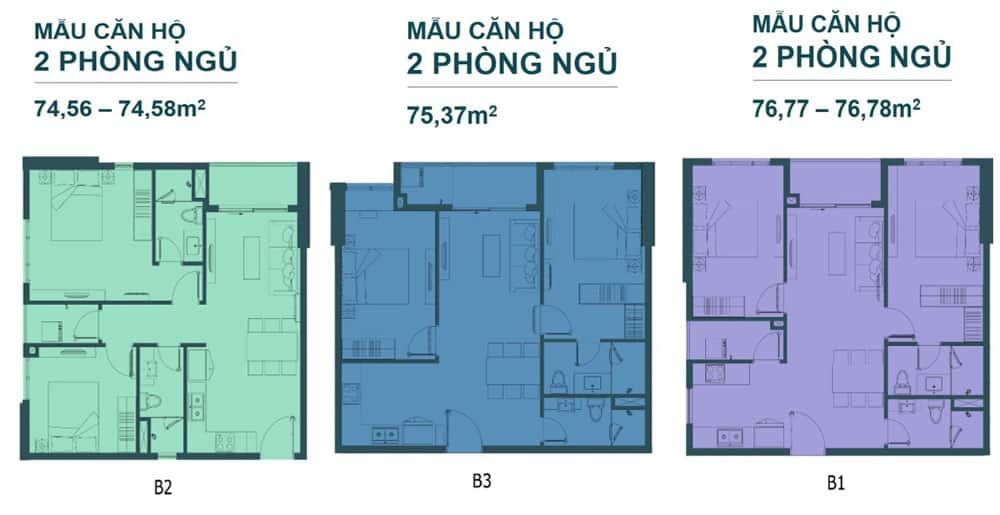Bản vẽ thiết kế căn hộ Vũng Tàu Pearl loại 2 phòng ngủ