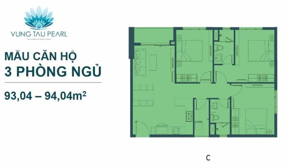Bản vẽ thiết kế căn hộ Vũng Tàu Pearl loại 3 phòng ngủ