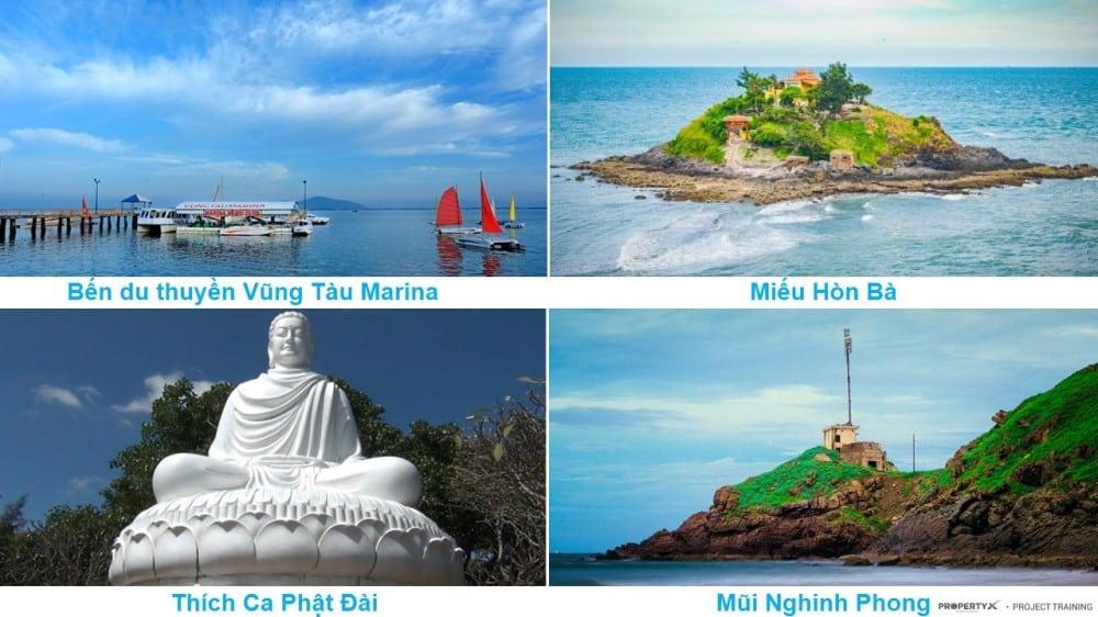 Bến du thuyền Vũng Tàu Marina, Miếu Hòn Bà, Thích Ca Phật Đài, Mũi Nghinh Phong