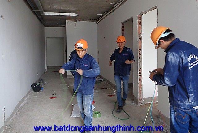 Công tác lắp đặt hệ thống điện từ tầng 7 đến tầng 24 block A, tầng 6 đến tầng 25 block B chung cư Vũng Tàu Melody