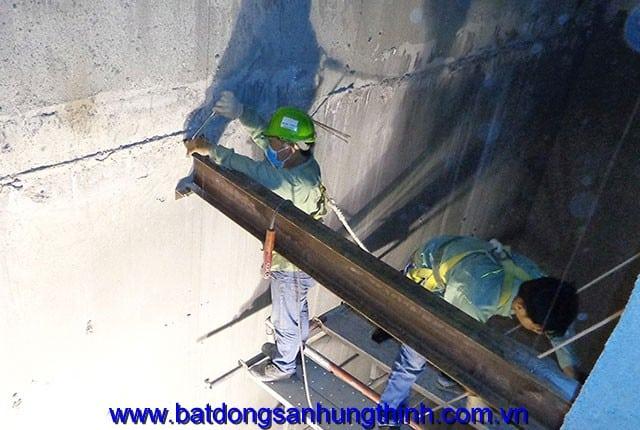 Công tác lắp đặt dầm thang máy block A và block B chung cư Melody Vũng Tàu