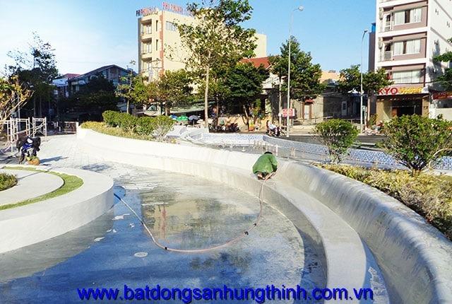 Thi công cảnh quan mặt tiền dự án chung cư Melody Vũng Tàu Hung Thinh