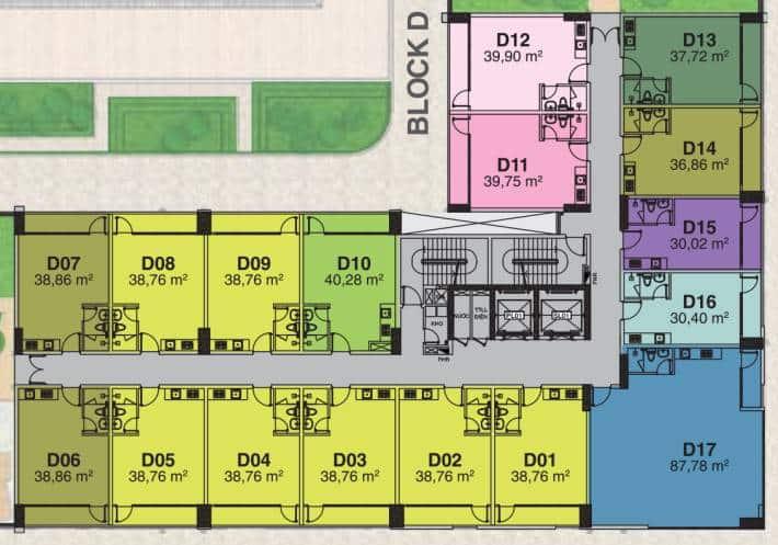 Mặt bằng Officetel Block D Florita