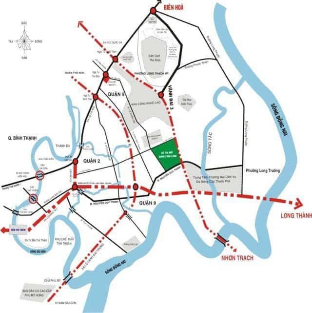 Bản đồ kết nối giao thông du an Đông Tăng Long
