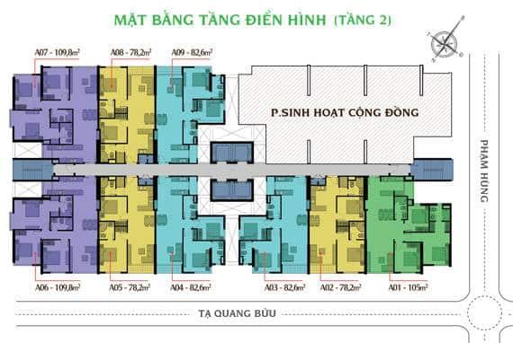 MAT BANG DIEN HINH TANG 2 CAN HO GIAI VIET