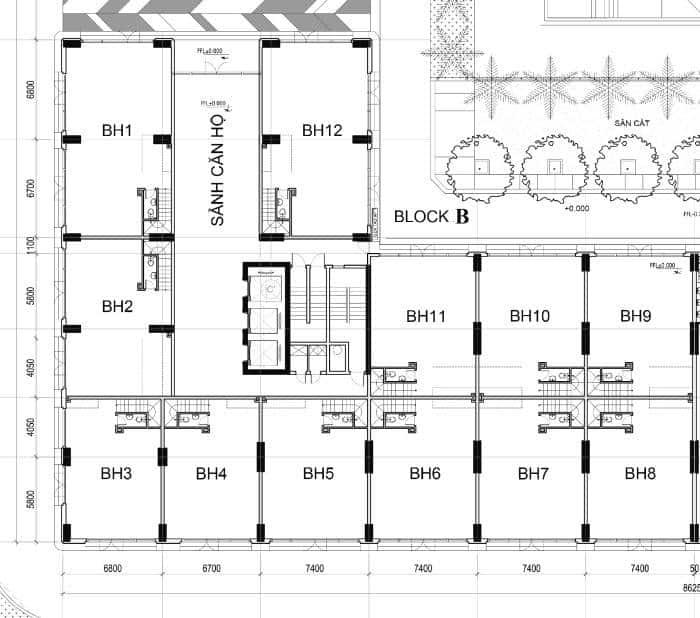 Mặt Bằng Tầng Trêt Shop House Block B Căn Hộ Sky Center