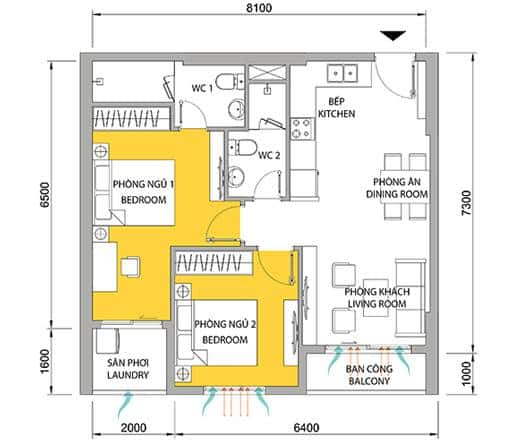 Căn hộ 2 phòng ngủ 2 WC