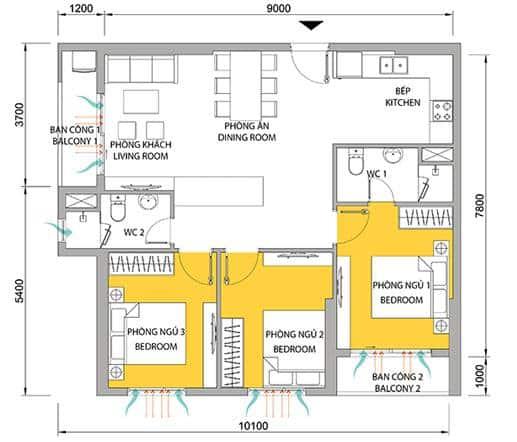 Căn hộ M-One 3 phòng ngủ 2 WC