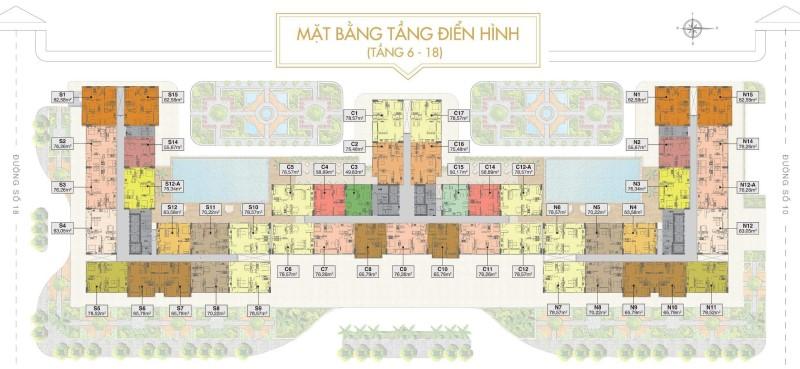Mặt bằng điển hình tầng 6-18 Sài Gòn Mia