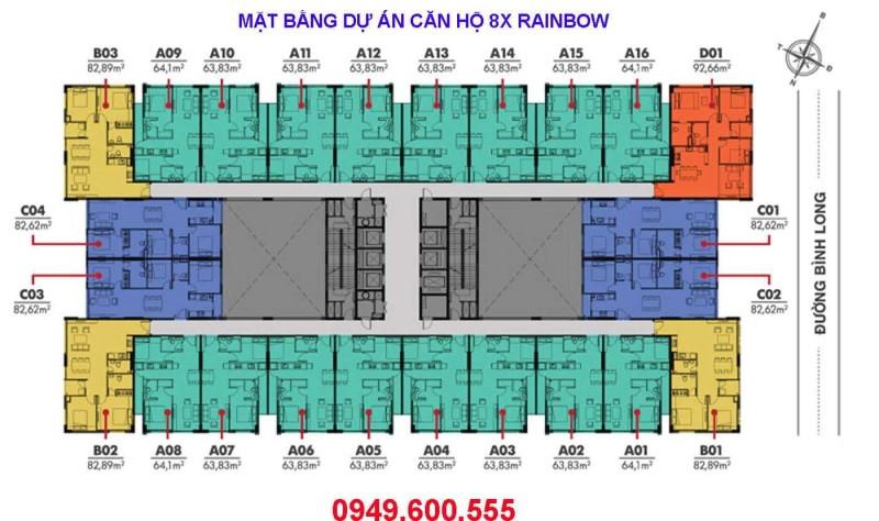 Mặt bằng dự án căn hộ 8X Rainbow