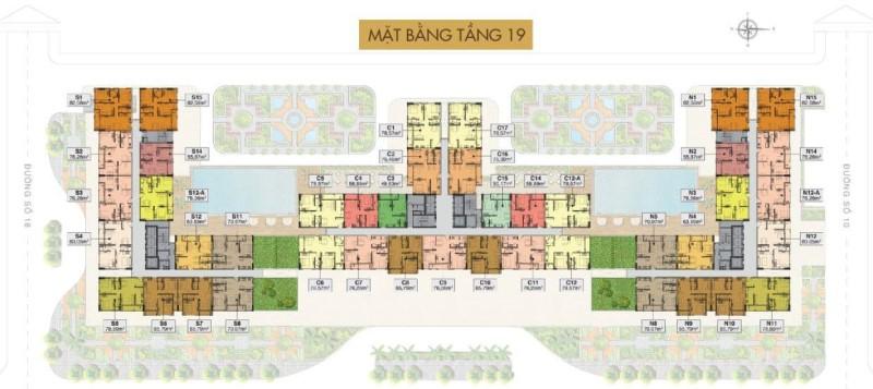 Mặt bằng tầng 19 căn hộ sân vườn Saigon Mia