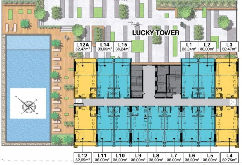 Mặt Bằng Block Officetel Lucky Tower