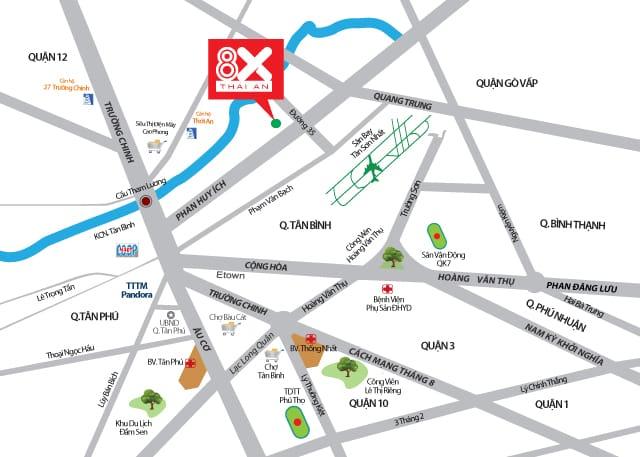 Vị trí dự án 8X Thái An