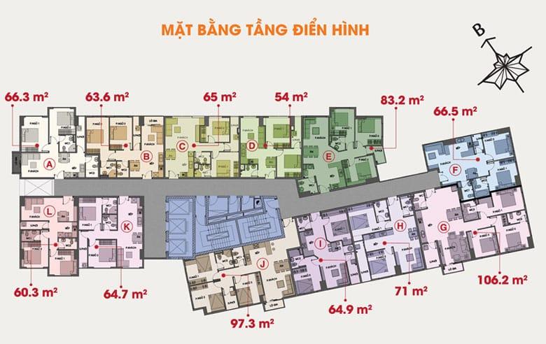 Mặt bằng tầng điển hình dự án 91 Phạm Văn Hai