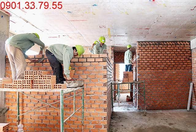 Thi công tường bao căn hộ đến tầng 12 - Block C căn hộ Florita Hưng Thịnh