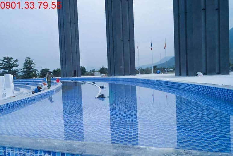 Thi công hồ phun nước tại cổng chào Quảng trường dự án Golden Bay City Cam Ranh