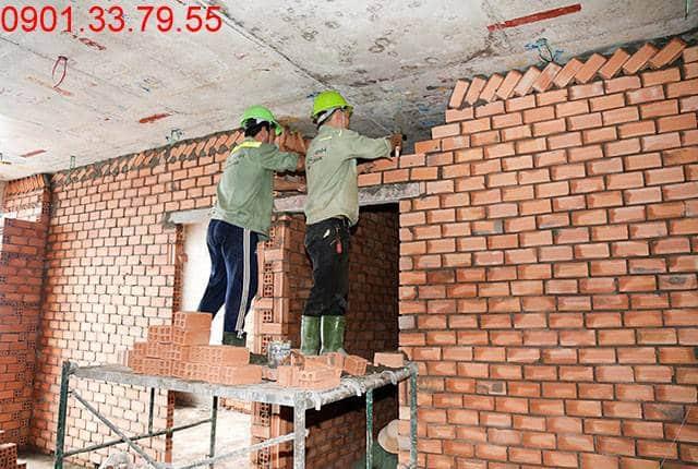 Thi công tường bao căn hộ đến tầng 17 - Block D căn hộ Florita quận 7