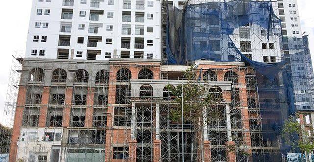 Công tác xây tô hoàn thiện mặt tiền dự án block A và block B căn hộ chung cư Melody Vũng Tàu Hưng Thịnh