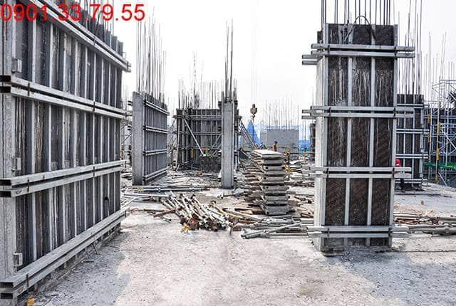 Hoàn thành đổ bê tông sàn tầng 5 và thi công cột sàn tầng 6 block A, B can ho Monlight Park View