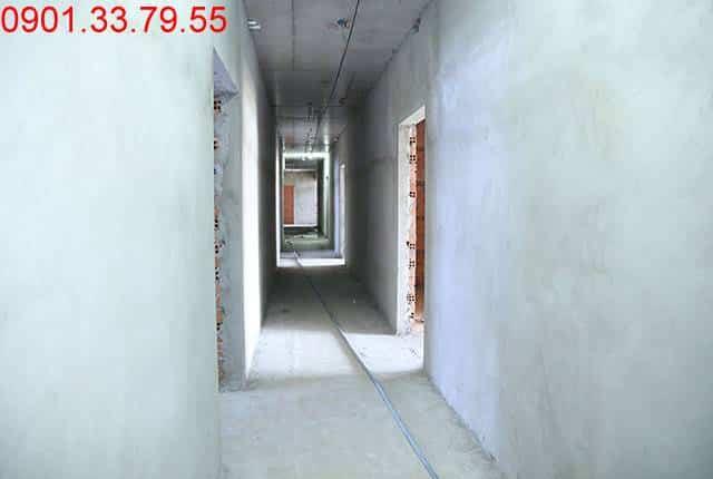 Thi công tô tường bao căn hộ đến tầng 9 - Block A căn hộ Florita