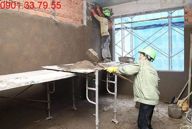 Tiếp tục thi công tô tường bao căn hộ từ tầng 5 đến tầng 9 - Block A căn hộ Florita