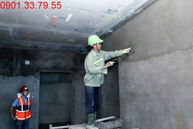 Tiếp tục thi công tô tường bao căn hộ từ tầng 5 đến tầng 12 - Block A căn hộ Florita