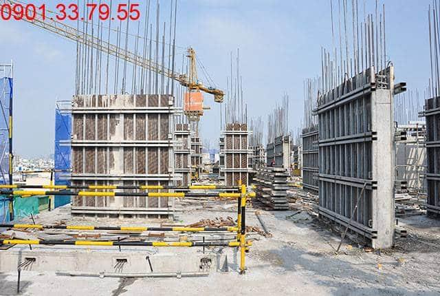 Hoàn thành đổ bê tông sàn tầng 5 và thi công cột sàn tầng 6 block A, B chung cư Monlight Park View
