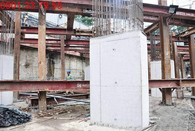 Thi công cột sàn tầng B2 - block Southern can ho Saigon Mia